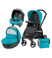 Carucior 3 in 1, Peg Perego, Book Plus, Black Matt, Sportivo Bloom