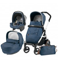 Carucior 3 In 1, Peg Perego, Book Plus 51 S, Black&White, Completo Elite Urban Denim