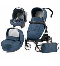 Carucior 3 In 1, Peg Perego, Book Plus 51, Black&White, Completo Elite Urban Denim